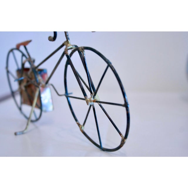 Brutalist Copper & Brass Bicycle Sculpture - Image 9 of 9