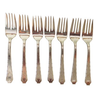 "Vintage Aristocrat Silver Plated "" Laurel"" Pattern Set of 7 Dessert Forks For Sale"