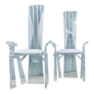 Lucite Dining Chairs - a Pair For Sale