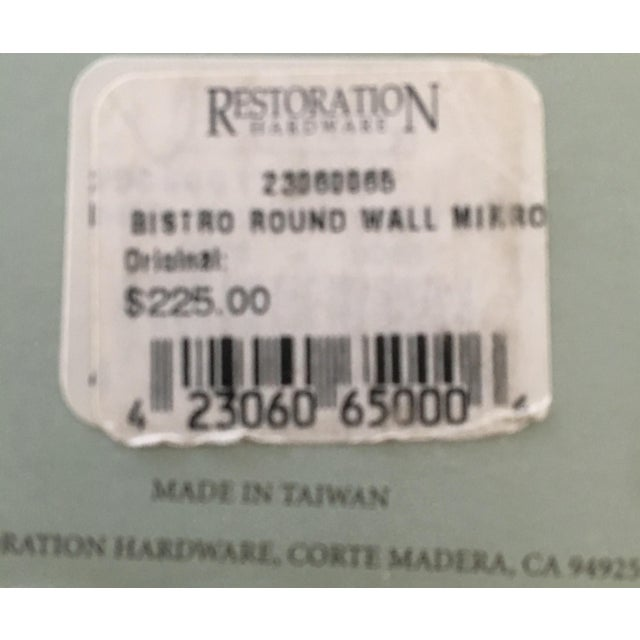 Metal Restoration Hardware Bistro Oil Rubbed Bronze Wall Mount Round Bathroom Mirror For Sale - Image 7 of 8