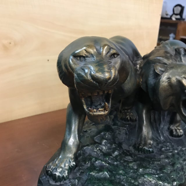 """Gold 1930s French Art Deco Terra Cotta """"Group of Panthers on Rock"""" Sculpture For Sale - Image 8 of 10"""