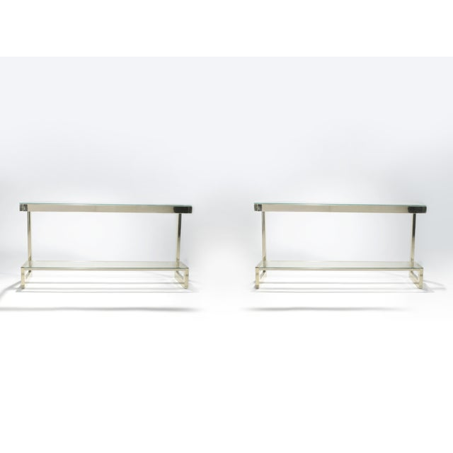 Maison Jansen Guy Lefevre Pair of Large Brass Console Tables for Maison Jansen, 1970s For Sale - Image 4 of 11