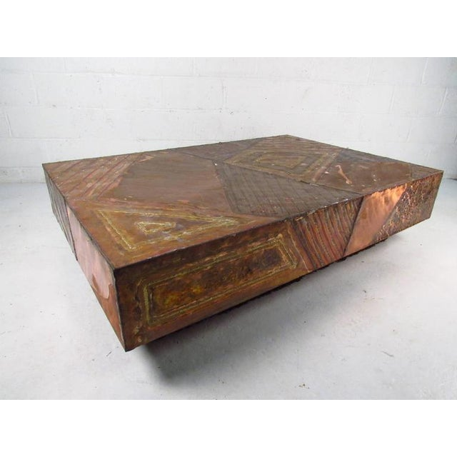0da90a766a69 This large hammered copper table features a uniquely textured top with  built in base lighting. Brutalist Large Mid-Century Modern Coffee ...