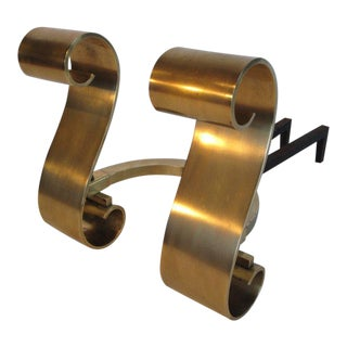 1950s Modern Decorative Brass Scroll Andirons - a Pair For Sale