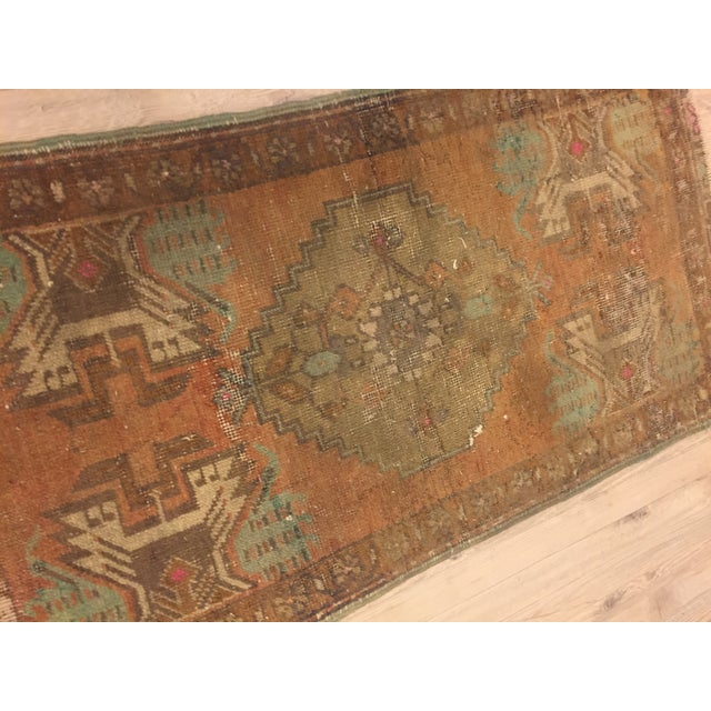 Antique Turkish Handwoven Rug - 1′6″ × 3′ - Image 4 of 6