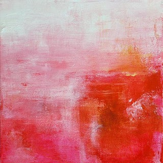 Original Abstract Red Pink Orange Bright Art Painting Canvas For Sale
