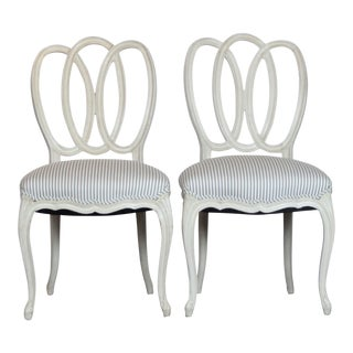 1950s Vintage White Accent Chairs- A Pair For Sale
