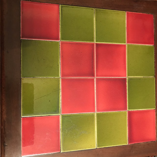 Green Antique Tile Top Pub Table For Sale - Image 8 of 11