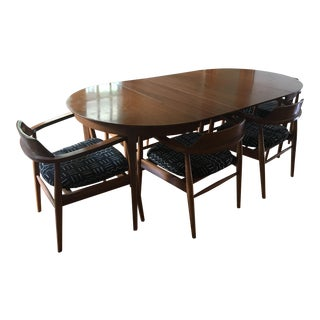 1960s Mid-Century Modern Dining Table and Chairs Set - 7 Pieces For Sale