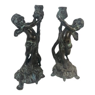 Vintage Verdigris Bronze Putti Angel Candle Holders - a Pair For Sale