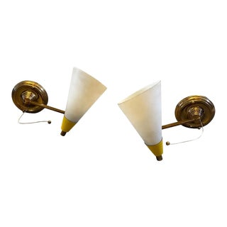 1950s Italian Mid-Century Modern Brass and Glass Foldable Wall Sconces For Sale