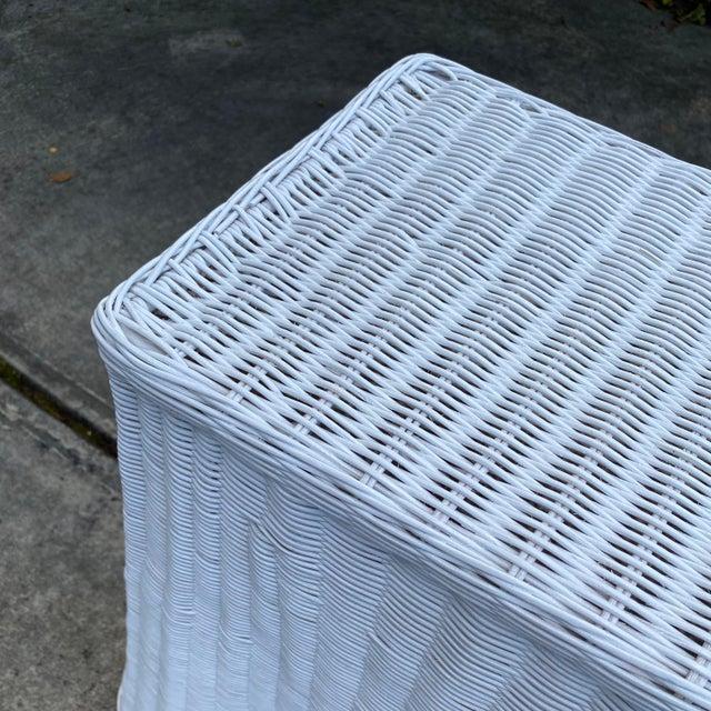 Trompe-l'Oeil Natural Rattan Console Table For Sale In Atlanta - Image 6 of 12