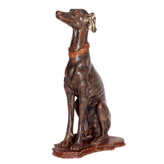 19th Century Italian Carved Wood Seated Greyhound Sculpture For Sale