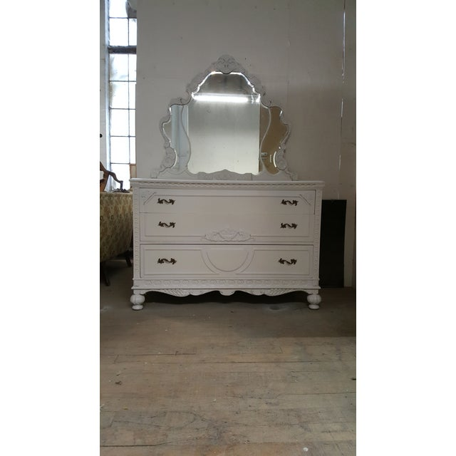 French Provincial White Carved Wood Dresser With Mirror - Image 8 of 9