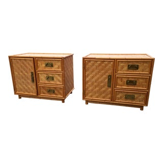 Mid-Century Bamboo Nightstands - A Pair