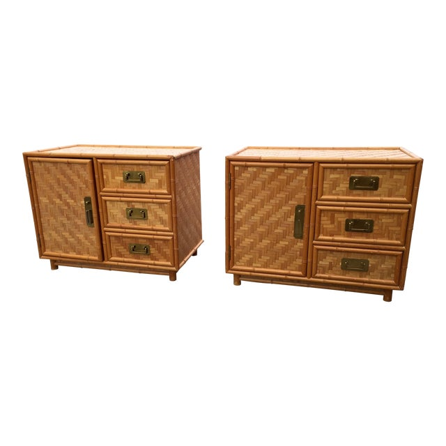 Mid-Century Bamboo Nightstands - A Pair For Sale