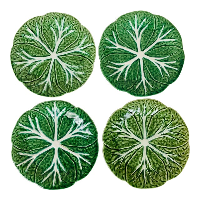 Vintage Williams Sonoma Green Cabbage Plates - Set of 4 For Sale