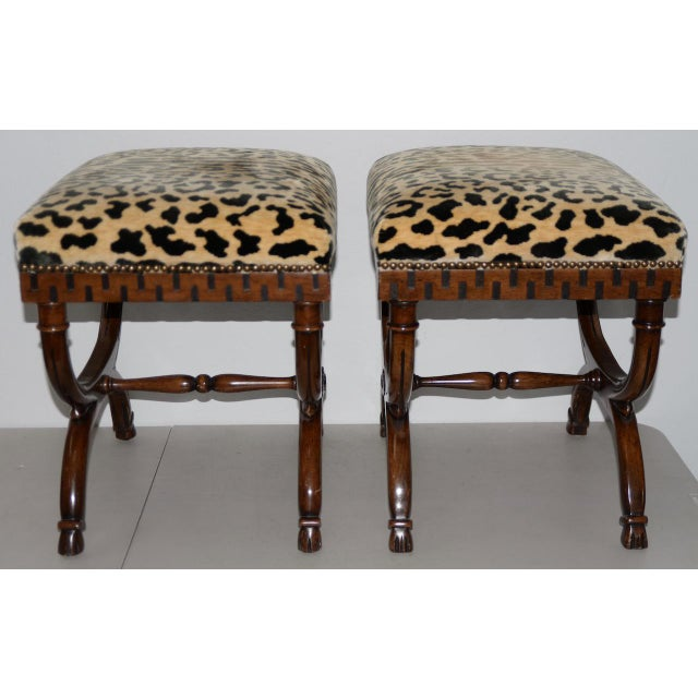 Traditional Pair of William Switzer Carved Curule Benches For Sale - Image 3 of 6
