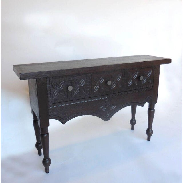 Rustic Custom Carved Console with Drawers For Sale - Image 3 of 7