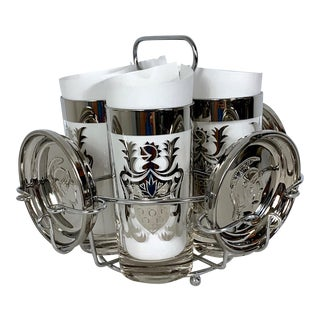 MCM Mad Men Kimiko Guardian Ware Silver Knight Highball Bar Glasses With Coasters & Caddy - 9 Pieces For Sale