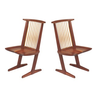 Vintage George Nakashima, Rare Sculptural Conoid Chairs- A Pair For Sale