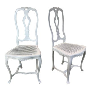 French Style White Iron Chairs - A Pair For Sale