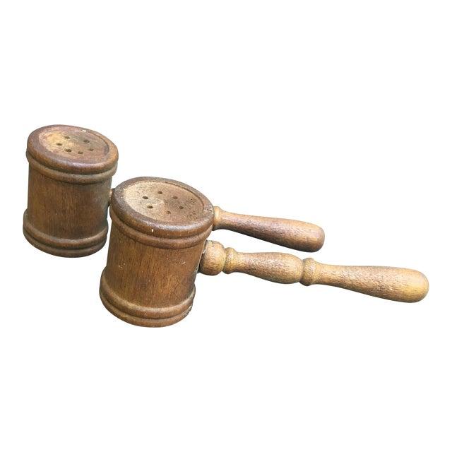Wood Vintage Gavel Salt & Pepper Shaker Set - A Pair For Sale