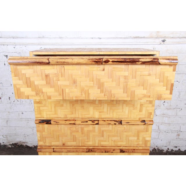 Wood Mid-Century Modern Hollywood Regency Chinoiserie Bamboo Parquetry Highboy Dresser For Sale - Image 7 of 12