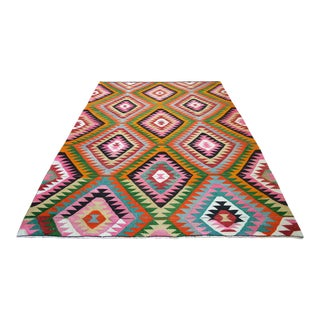 1970s Vintage Flat Weave Colorful Turkish Handwoven Area Rug For Sale