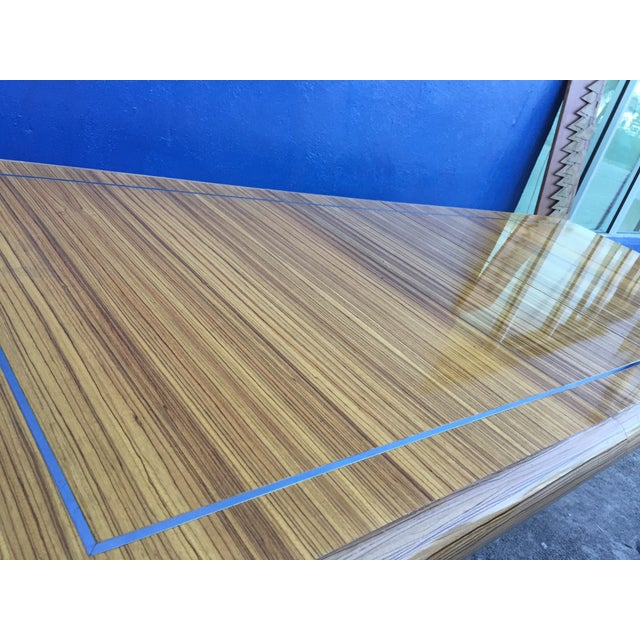 Modernist Zebrawood & Chrome Dining Table For Sale In Miami - Image 6 of 11