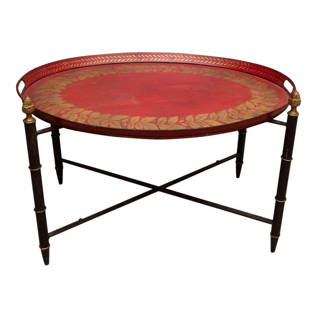 Red Tole Table with Decorative Oval Top and X-Frame Base For Sale
