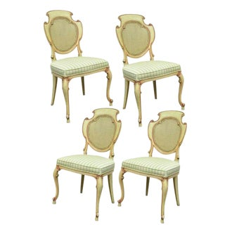 1950s Vintage Scroll Carved Italian Hollywood Regency Cream Pink Cane Back Dining Chairs- 4 Pieces For Sale
