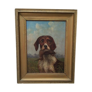 Vintage Hunting Dog Painting #1 For Sale
