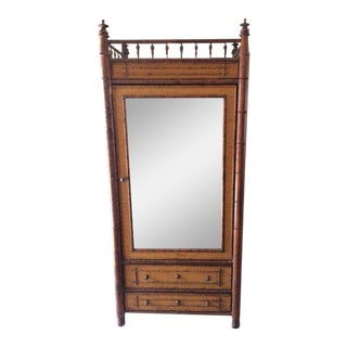 Vintage Rattan and Raffia Mirrored Front Armoire For Sale