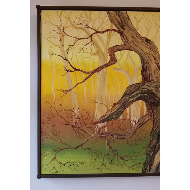 Abstract 1965 Abstract Madrona Tree Oil Painting by Charles Radke, Framed For Sale - Image 3 of 6