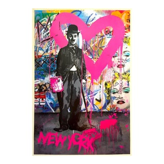 "Mr. Brainwash ""Charlie Chaplin New York"" Authentic Lithograph Print Pop Art Poster For Sale"