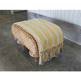 Mackenzie Childs Woven Wicker Ottoman W Porcelain Legs and Original Cover Preview