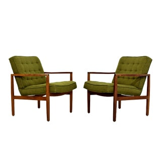 1960s Mid-Century Modern Florence Knoll Angled Wood Armchairs - a Pair For Sale