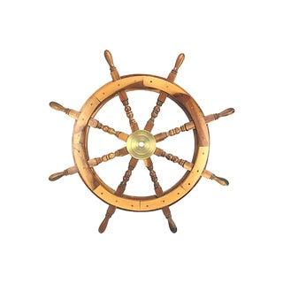 Walnut & Brass Ship's Wheel