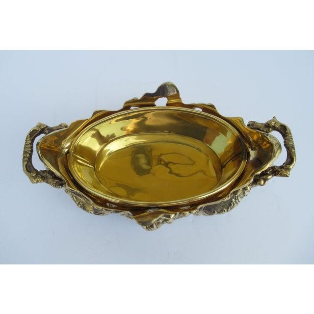 Vintage Brass Ornate Planter W/Brass Interior Liner For Sale - Image 10 of 13