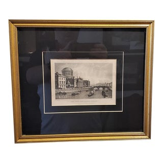 Original Irish Engraving of Four Courts of Law Dublin 1840 For Sale