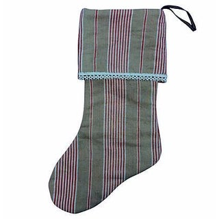 Antique French Ticking Christmas Stocking For Sale