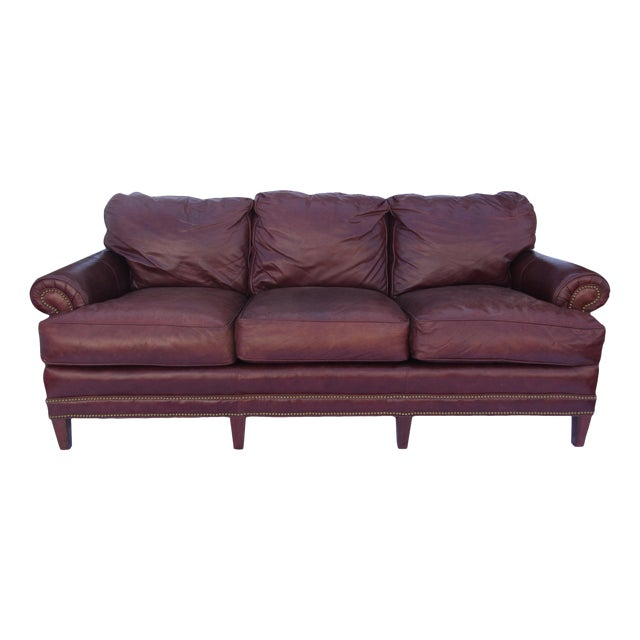 Pearson Chestnut Leather Sofa with Brass Nailhead Trim For Sale