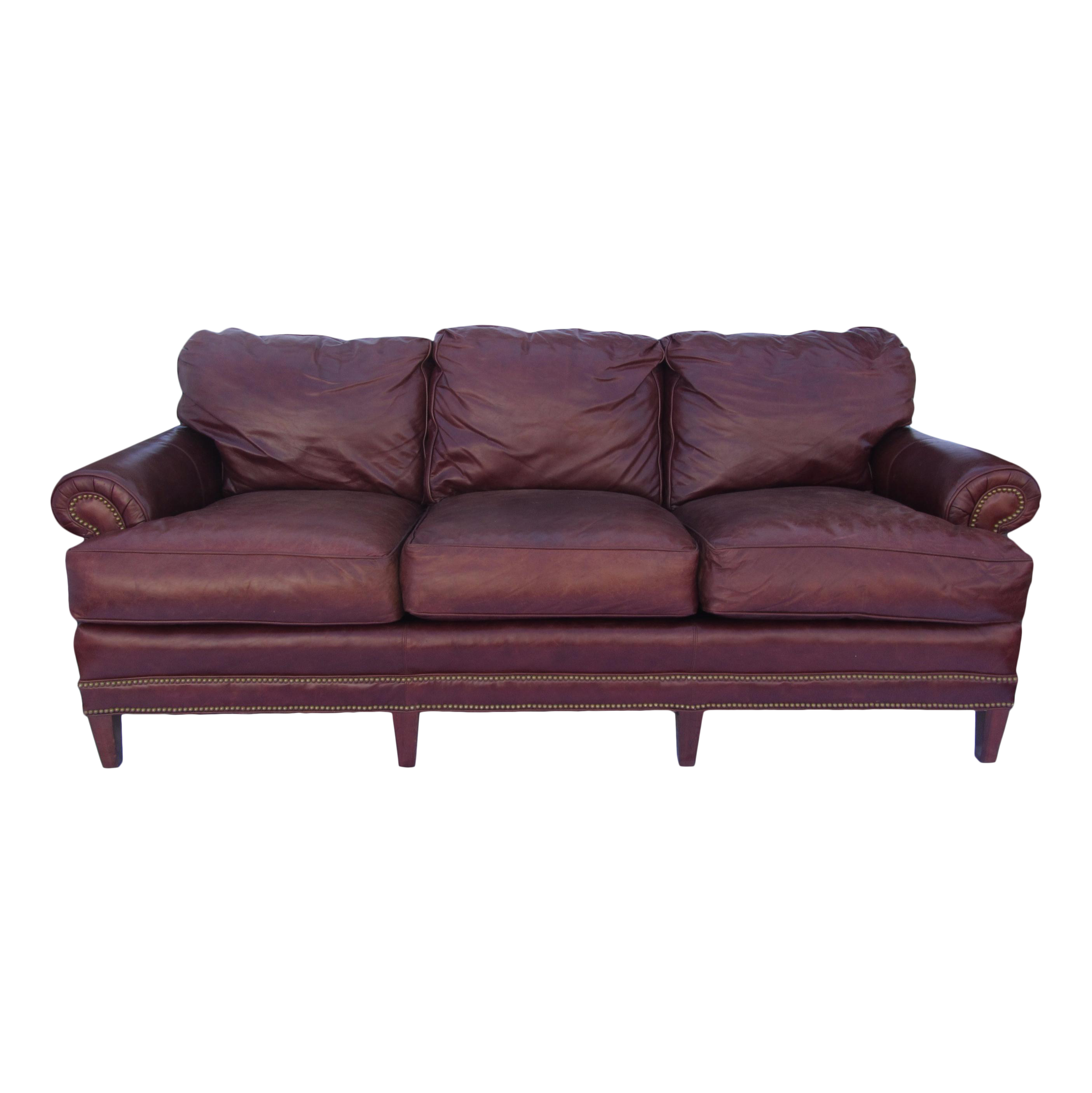 Pearson Chestnut Leather Sofa With Brass Nailhead Trim