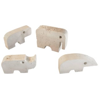 Flli Mannelli Travertine Animals: Elephant, Anteater, Hippo, & Rhino for Raymor For Sale