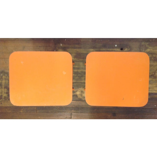 Orange Mid Century Collapsible Side Tables - Pair - Image 3 of 11