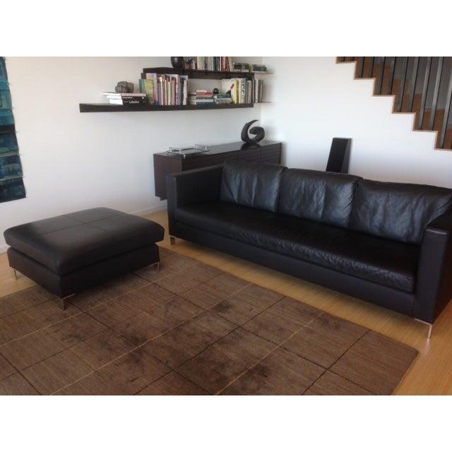Verdesign Dark Grey Leather Modern Sofa & Ottoman - Image 2 of 11