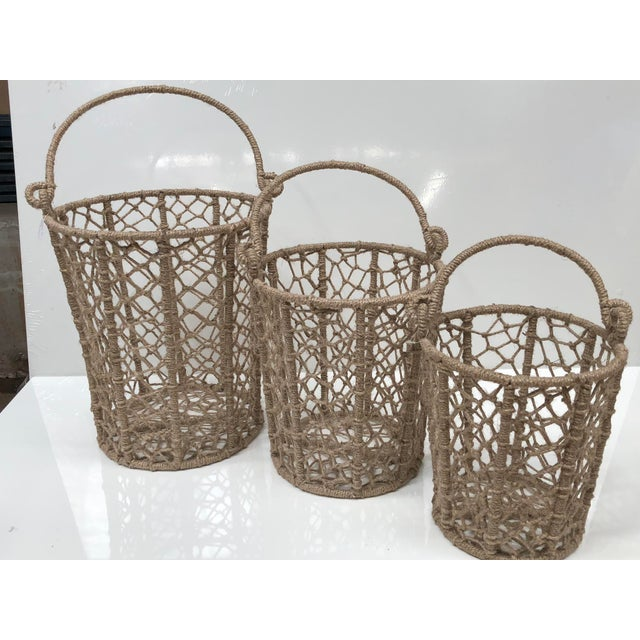 Vintage Handcrafted Woven Jute Rope Buckets - Set of 3 For Sale - Image 4 of 8