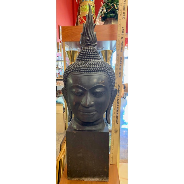 Late 19th Century Antique Monumental Bronze Thai Buddha Head For Sale - Image 11 of 12