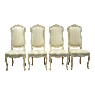 1960s Vintage Swedish Rococo French Louis XV Style Distress Painted Dining Chairs- Set of 4 For Sale
